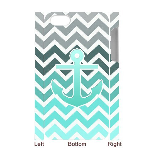 Cooliphone4Cases.com-2836-iPhone 4s Case, Hard Back Cover for iPhone 4s with Teal Blue Chevron Anchor Phone case Design-B01KX0ILOI-T Shirt Design