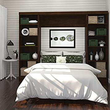 bestar pur 109 full wall bed with 2 piece storage unit in chocolate - Bedroom Storage Units For Walls