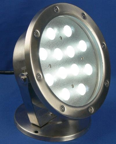 High Power 12 1W LED Cool White Landscape or Pond Light Outdoor Rated & Submersible