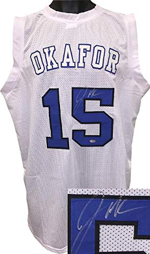 cb63c2500c07 Signed Jahlil Okafor Jersey - White Custom Stitched College Style  Basketball XL Final Four White Letters