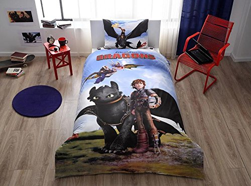 How To Train Your Dragon 3 Pcs Twin / Single Size %100 Cotton Duvet Cover Set Bedding Linens (Comforter sold separately, not in this set) Dragon Sheets