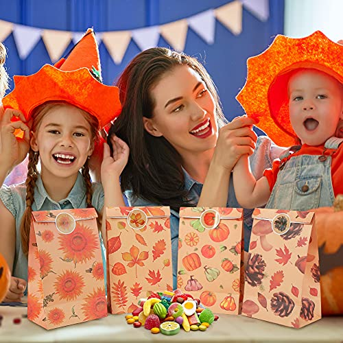 TOXOY Fall Theme Gift Bags, 18 PCS Thanksgiving Favor Bags with 18 Stickers Autumn Paper Bags Fall Treat Bags for Halloween Thanksgiving Party Favor