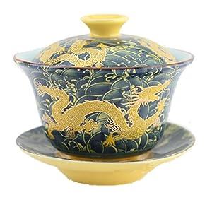 Moyishi Chinese Porcelain Gaiwan Dark Blue Dragon Tradition Sancai Tea Cup Tea Set Best Gift