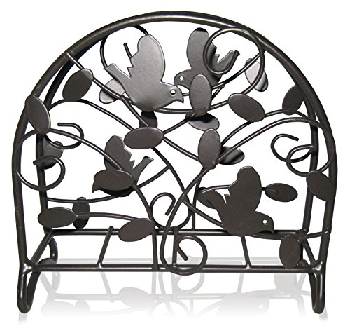 Sturdey Construction Birdsong Bird & Flower Collection Napkin Holder Elegant Accent Piece For Your Dinning Table (Black)