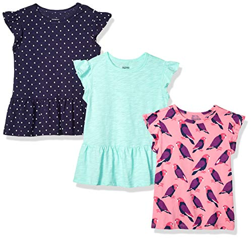 (Spotted Zebra Big Girls' 3-Pack Short-Sleeve Ruffle Tops, Birds/Dots, Medium)