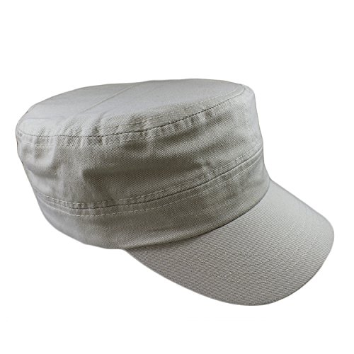 - Gelante Cadet Caps 100% Breathable Cotton Plain Flat Top Twill Militray Style with Adjustable Strap. G005-Putty