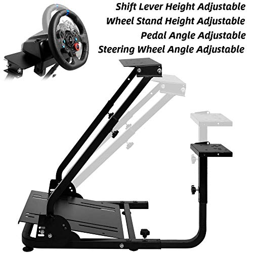 CIOGO Wheel Stand,G920 Racing Wheel Stand Pro for Logitech G25 G27 G29 G920 Racing Wheel Shifter and Pedals NOT Included (Bend)