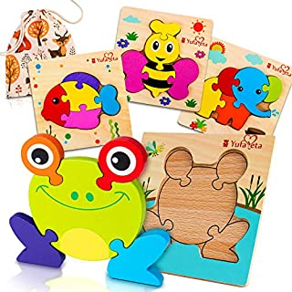First Play Animal Jigsaw 4 Wooden Puzzles | Chunky Pieces & Board Outline for Toddlers | Ideal Educational Gift Toy for Curious 2 3 4 Year Old Boys Girls | Fun Cloth Pouch for Easy Storage & Travel