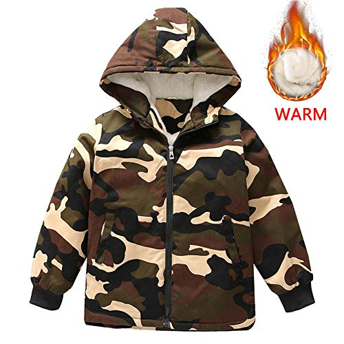(Farvalue Boy Winter Warm Trench Coat Sherpa Lined Hooded Cool Heavyweight Puffer Jacket for Big Boy, Camo 6-7)
