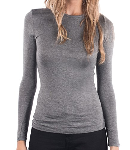 Glitz Junior Ladies Crew Neck Pullover Top, Womens Long Sleeve Shirt, Basic Stylish Casual Girls Top