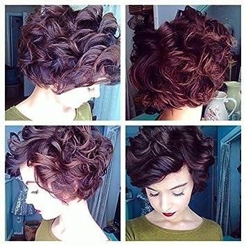 Amazon Com Naseily Short Curly Wig Hairstyles Short Black Brown
