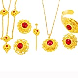 18K Gold Plated Fashion Ethiopian Stone Jewelry Sets for Ethiopian Women Accessories