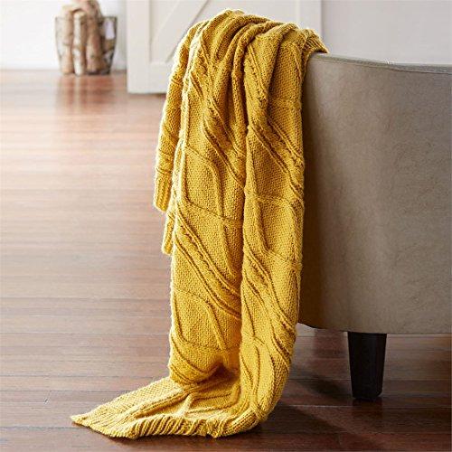 Blake Yarn (BrylaneHome Blake Cable Knit Blanket (Gold,0))