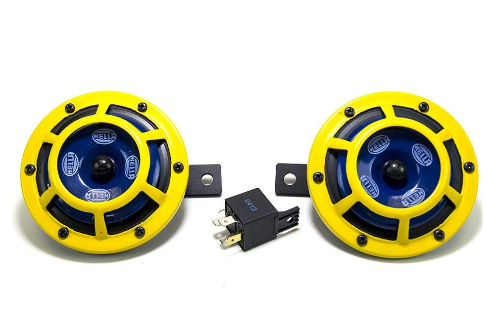 Hella 922000731 Sharp Tone Horn Kit with Yellow Protective Grill