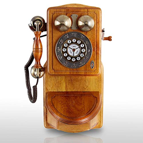 (AQWWHY Retro Phone Touch-Tone Buttons Wooden Wall-Mounted Classic Telephone with Redial Flash and Pause Function Corded Landline Phone)