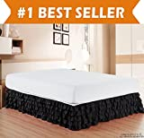 Elegant Comfort Luxurious Premium Quality 1500 Thread Count Wrinkle and Fade Resistant Egyptian Quality Microfiber Multi-Ruffle Bed Skirt - 15inch Drop, California King, Black