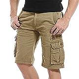 NiuZi Men's Loose Fit Twill Cargo Shorts Cotton Multi-Pocket Outdoor Lightweight Cargo Camouflage Shorts (K038 Khaki, Size 32=Label 33)