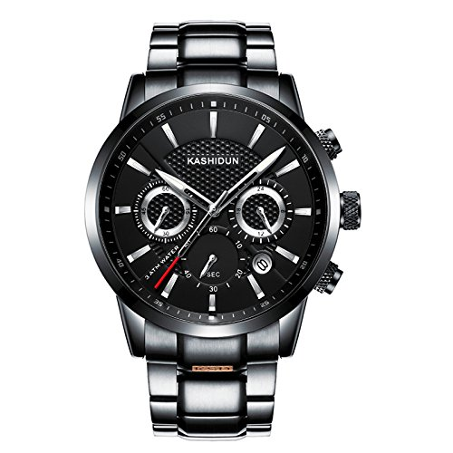 KASHIDUN Men's Watches Luxury Sports Casual Quartz Wristwatches Waterproof Chronograph Calendar Date Stainless Steel Band Black Color (A Black ()
