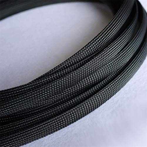Graven 1M Black 12mm Braided Cables Textile Cord PET Expandable High Density Sheathing Plaited Cable Sleeves