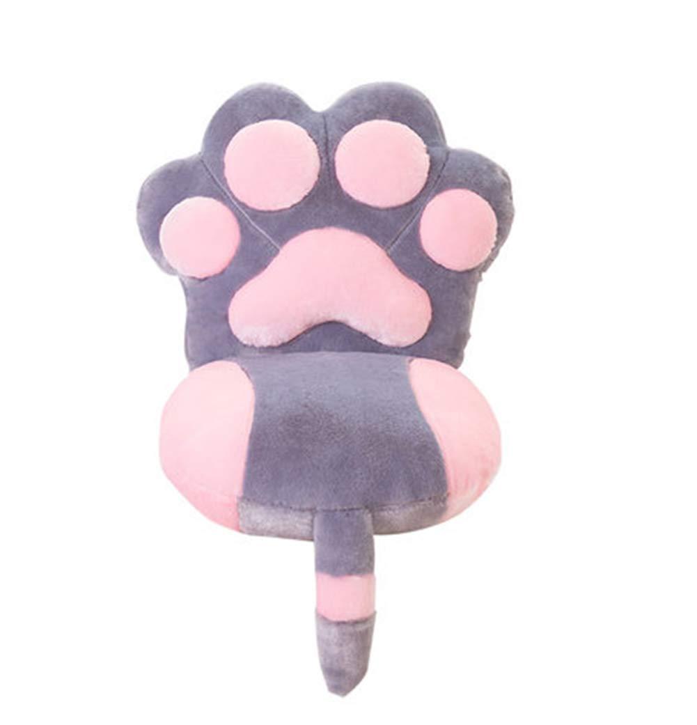 JINGXIN Lovely Plush Cat Paw Back Cushions Adults Children Soft Chair Pads,Grey