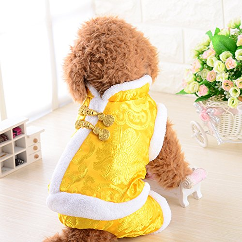 National Costumes Of China (Pet dog costume dress with new year Chinese New Year festive costume clothing and cashmere clothing new legs thickened)