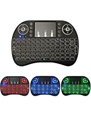 Mini Wireless Multi-Media Keyboard, 3 Color LED Backlit 2.4GHz with Touchpad Mouse Scroll Button Handheld Remote Control Compatible for PC/Mac, Smart TVs, PS3/PS4, Xbox360, and More (Black)