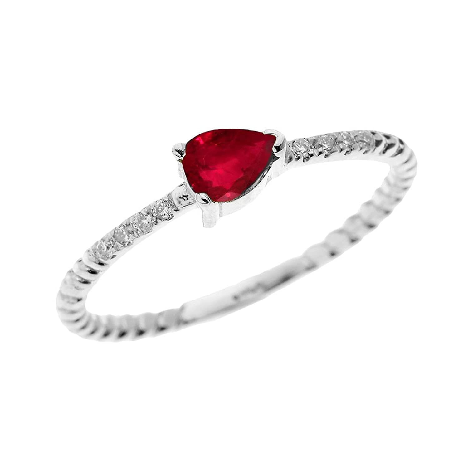 10k White Gold Dainty Diamond and Pear Shape Ruby Rope Design Promise Ring