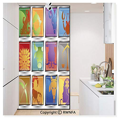 Forecast Bathroom Bath Light - Decorative Window Film,Zodiac Sign Icon Frame Astrology Elements Character Forecast with Stars Graphic Home Static Cling Glass Film,No Glue/Anti UV Window Paper for Bathroom,Office,Meeting Room,Bedro