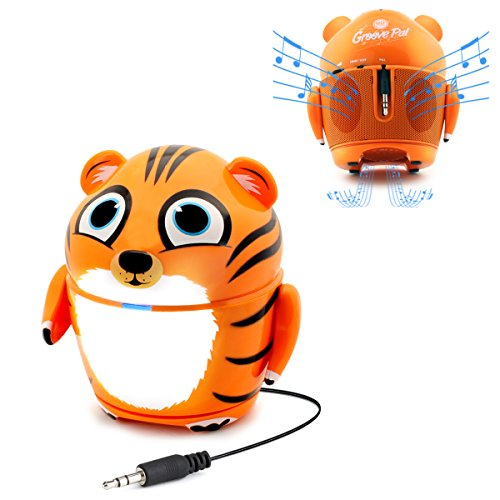 Cute Animal Rechargeable Portable Speaker With Passive Subwoofer  Groove Pal Tiger  Speaker For Kids By Gogroove   Stereo Drivers  Retractable 3 5Mm Aux Cable   Plug Into Tablets  Phones    More