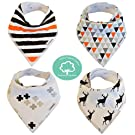 Baby Bandana Drool Bibs Organic 4 Pack for Boys and Girls with Snaps, Absorbent Soft Cotton for Teething Feeding Baby Shower Gift Scarf Bib (Black Grey Orange Stripe Unisex) From Lil Dandelion