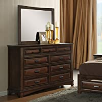 Roundhill Furniture B179DM Broval 179 Light Espresso Finish Wood 9 Drawers Dresser and Mirror
