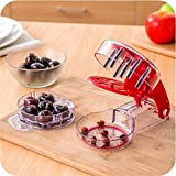 Myliffri Cherry Pitter - 6 Cherries, High-Quality Professional Cherry Stone Remover with Pits and Juice Container by Myliffri Fruit Tools, Red Color