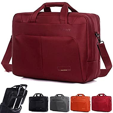 Laptop Bag ,BRINCH(TM) 15.6 inch Nylon Waterproof Roomy Stylish Laptop Shoulder Messenger Bag Handle Bag Tablet Briefcase For 15-15.6 Inch Laptop/Tablet/Macbook/Notebook,Red