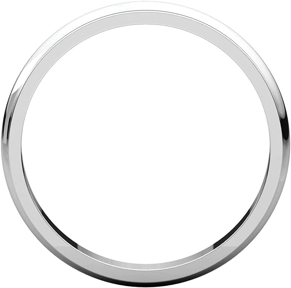 Size 10.5 Bonyak Jewelry 14k White Gold 3 mm Half Round Edge Band
