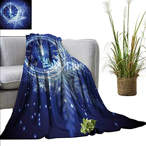 XavieraDoherty Travel Blanket Clock,Countdown to New Year Theme A Clock Holiday and Snowflakes Pattern Celebration Design Print,Blue Cozy Hypoallergenic, Easy to Carry Blanket 50