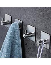 YIGII Handdoekhaak/handdoekhouder, roestvrij staal, zelfklevende haken, zonder boren, voor keuken en badkamer