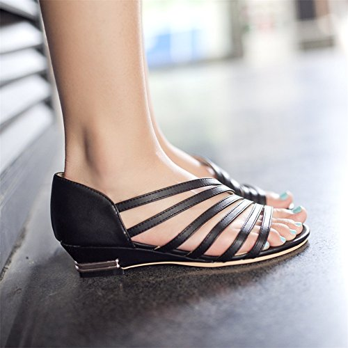 Green Shoes Top Low Summer for PU Sandals Toe C Open White Heel Walking Wedge Black Women's Shoes Casual q4xnUw4