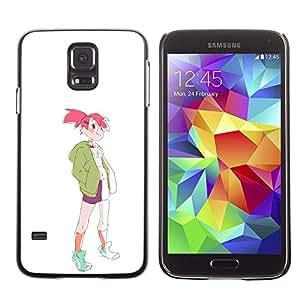 """For Samsung Galaxy S5 Case , Muchacha deportiva rosa de la moda del pelo Dibujo del estilo del arte"""" - Diseño Patrón Teléfono Caso Cubierta Case Bumper Duro Protección Case Cover Funda"""