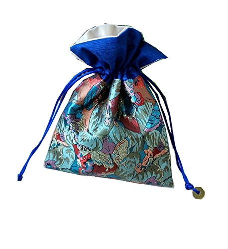 Startdy Chinese Element Silk Brocade Jewelry Coin Candy Goodie Pouches With Copper Cash Double layer Drawstring Gift Bag 4pcs BD05