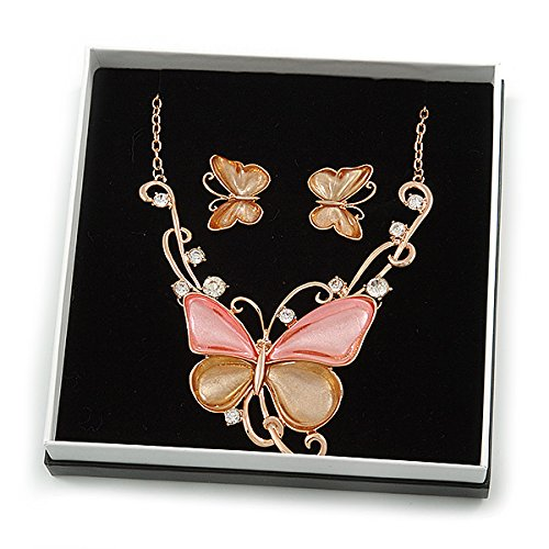 40cm L// 8cm Ext Gift Boxed Crystal Pastel Gold//Pink Butterfly Necklace /& Stud Earrings in Gold Tone Metal Avalaya Romantic Glass
