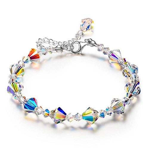 Bracelet for Her Aurora Swarovski Crystal Jewelry for Women Beaded Bracelet Anniversary GIFS for Wife Girlfriend Birthday Gifts for Teen Girls Daughter Mom ()