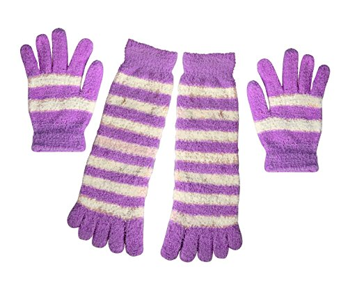 Peach Couture Winter Warm Striped Fuzzy Toe Socks and Gloves Pack ()