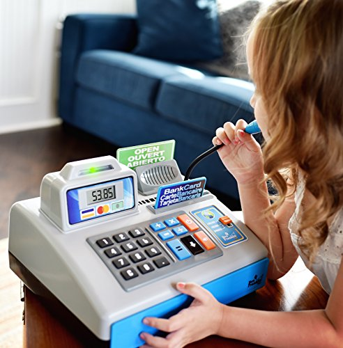 51r6gr123wL - Ben Franklin Toys Talking Toy Cash Register - store learning play set with 3 languages, paging microphone, credit card, bank card and play money