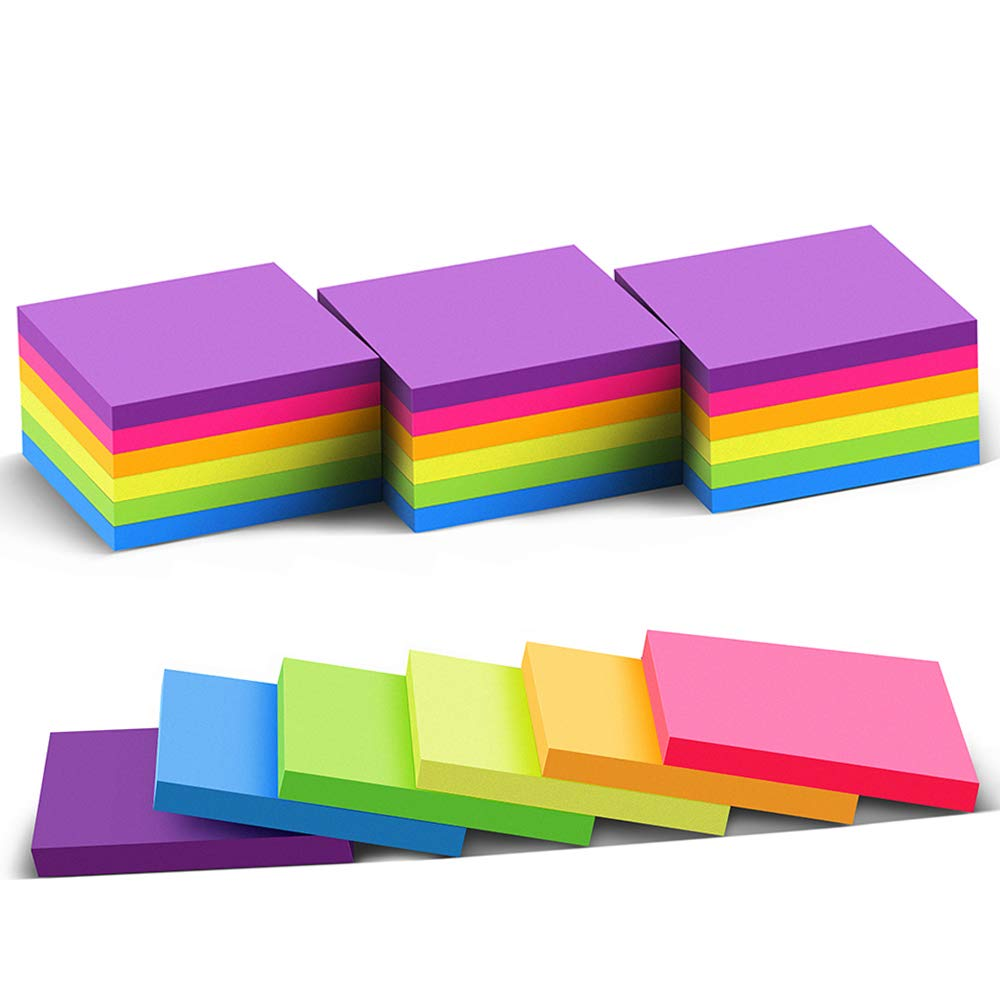 (24 Pack) Sticky Notes 3x3 in Bright Stickies Colorful Super Sticking Power Memo Pads, Strong Adhesive, 70 Sheets/pad by Vanpad