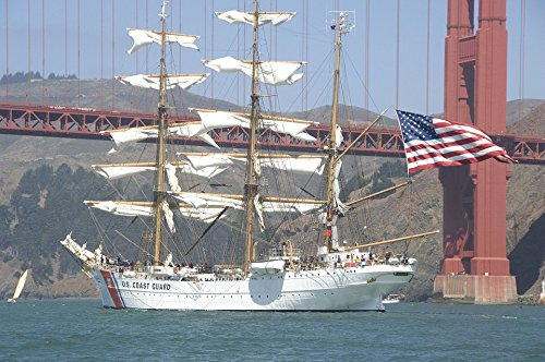 Masted Three Ship (Home Comforts Peel-n-Stick Poster of Golden Gate Bridge Three Masted Ship Cutter Poster 24x16 Adhesive Sticker Poster Print)