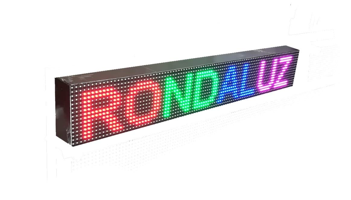 Cartel LED programable por WiFi y sonda de Temperatura (96x16 cm, RGB) Reloj / Pantalla electrónica de Alta luminosidad / Válidos para Exterior / ...