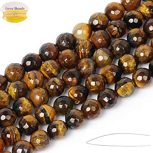 Faceted Tiger - ILVBD Natural Faceted Tiger Eye Stone Beads 4/6/8/10/12MM Loose Beads for Jewelry Making One Strand 15