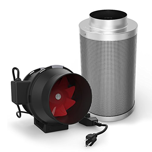 GROWNEER 6 Inch 390 CFM Inline Duct Mixed Flow Fan with Speed Controller, 6 Inch Carbon Filter Odor Control with Australia Virgin Charcoal, Grow Tent Ventilation Combo