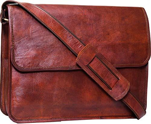 Urban Leather Messenger Bag for Men and Women - Mens Shoulder Satchel Bags - Office Executive Laptop Bag Work Classic Style Vintage Dark Tan Book Bag - Gifts for Promotion, Size 39 cms