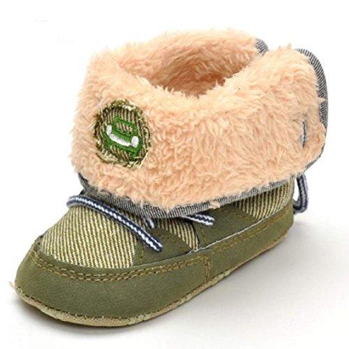 Ikevan Christmas Baby Girls Boys Prewalker Warm Anti-slip Thickened Cashmere Cotton Boots Soft Bottom Snow Boots Denim Shoes Autumn Winter 0-12 Months (8-12 months, Army Green)